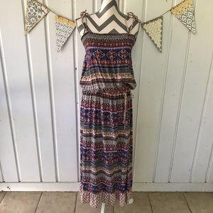 Xhilaration Stripe Mixed Print Maxi Dress